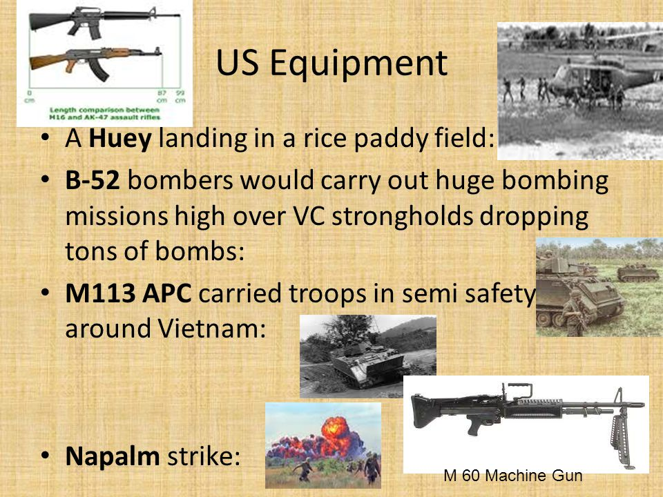 US Equipment A Huey landing in a rice paddy field: B-52 bombers would carry out huge bombing missions high over VC strongholds dropping tons of bombs: