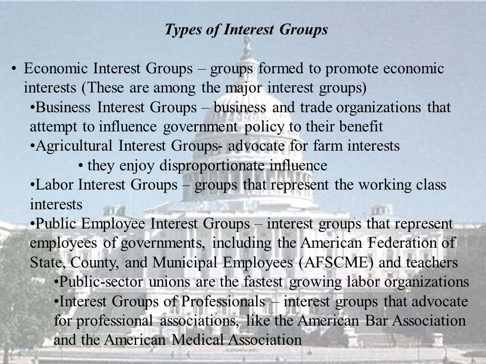 Types of Interest Groups Economic Interest Groups – groups formed to promote economic interests (These are among the major interest groups) Business I