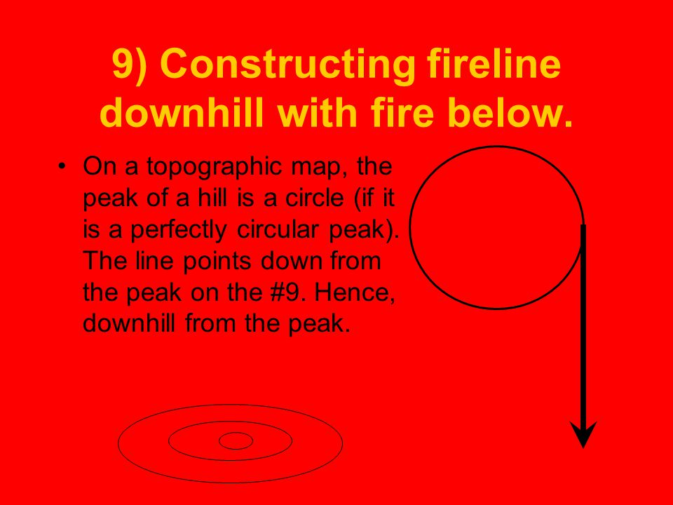 9) Constructing fireline downhill with fire below.