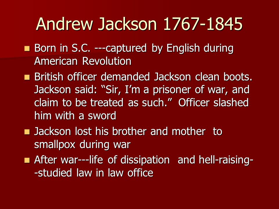Andrew Jackson 1767-1845 Born in S.C.