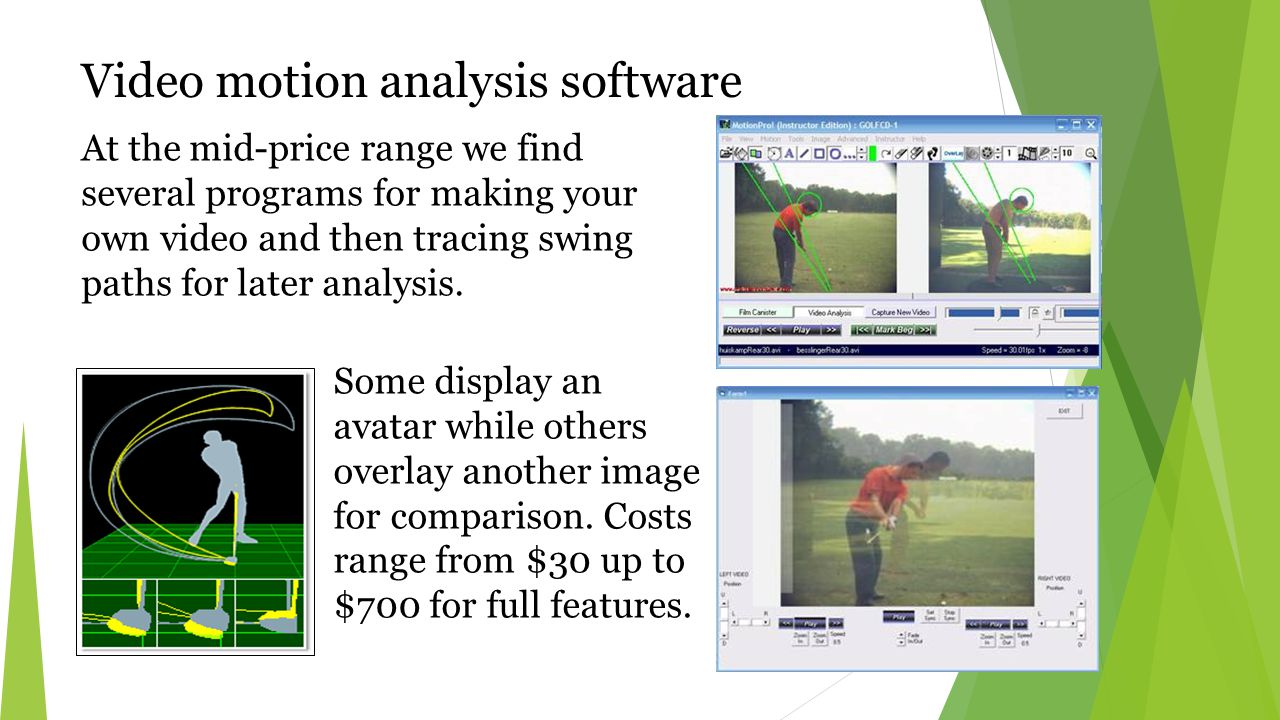 Video motion analysis software At the mid-price range we find several programs for making your own video and then tracing swing paths for later analysis.