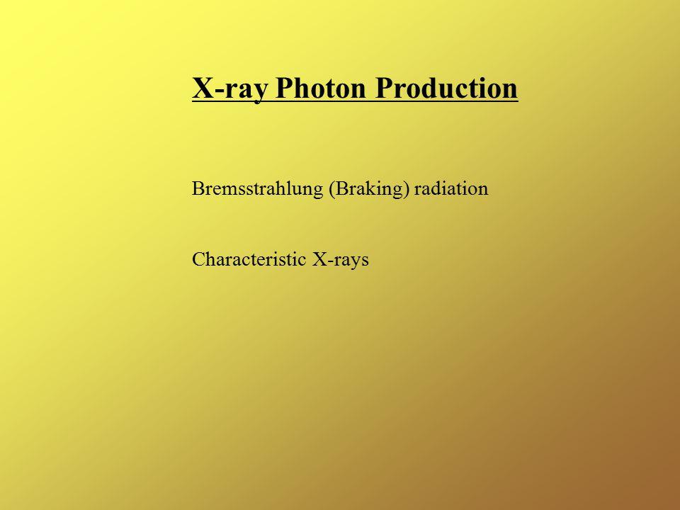 X-ray Photon Production Bremsstrahlung (Braking) radiation Characteristic X-rays