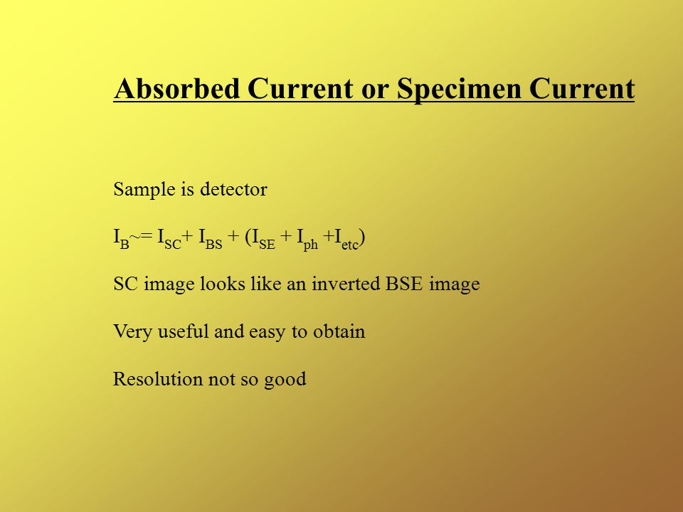 Absorbed Current or Specimen Current Sample is detector I B ~= I SC + I BS + (I SE + I ph +I etc ) SC image looks like an inverted BSE image Very useful and easy to obtain Resolution not so good