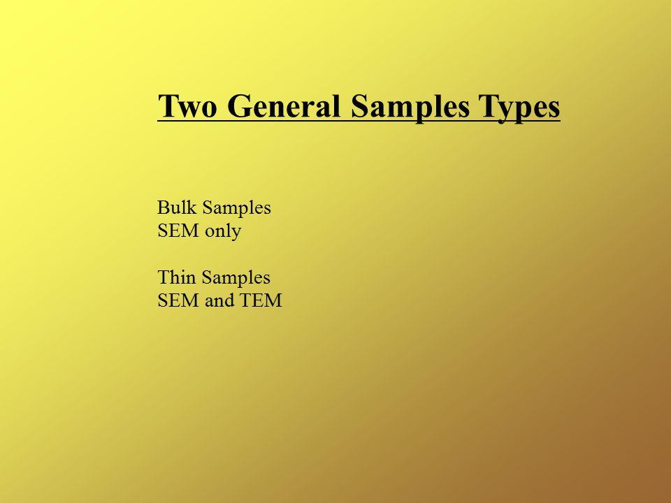 Two General Samples Types Bulk Samples SEM only Thin Samples SEM and TEM