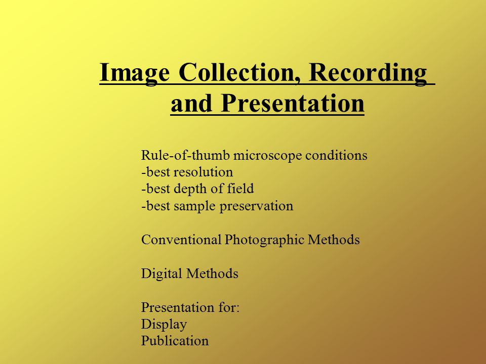 Image Collection, Recording and Presentation Rule-of-thumb microscope conditions -best resolution -best depth of field -best sample preservation Conventional Photographic Methods Digital Methods Presentation for: Display Publication