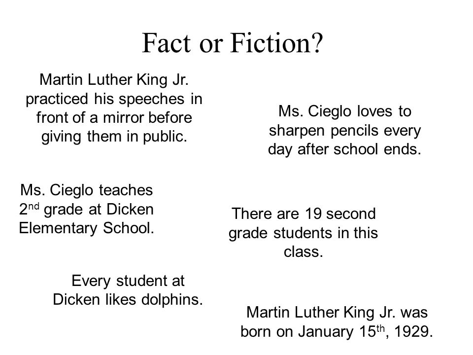 Fact or Fiction? Martin Luther King Jr. was born on January 15 th, 1929. Martin Luther King Jr. practiced his speeches in front of a mirror before giv