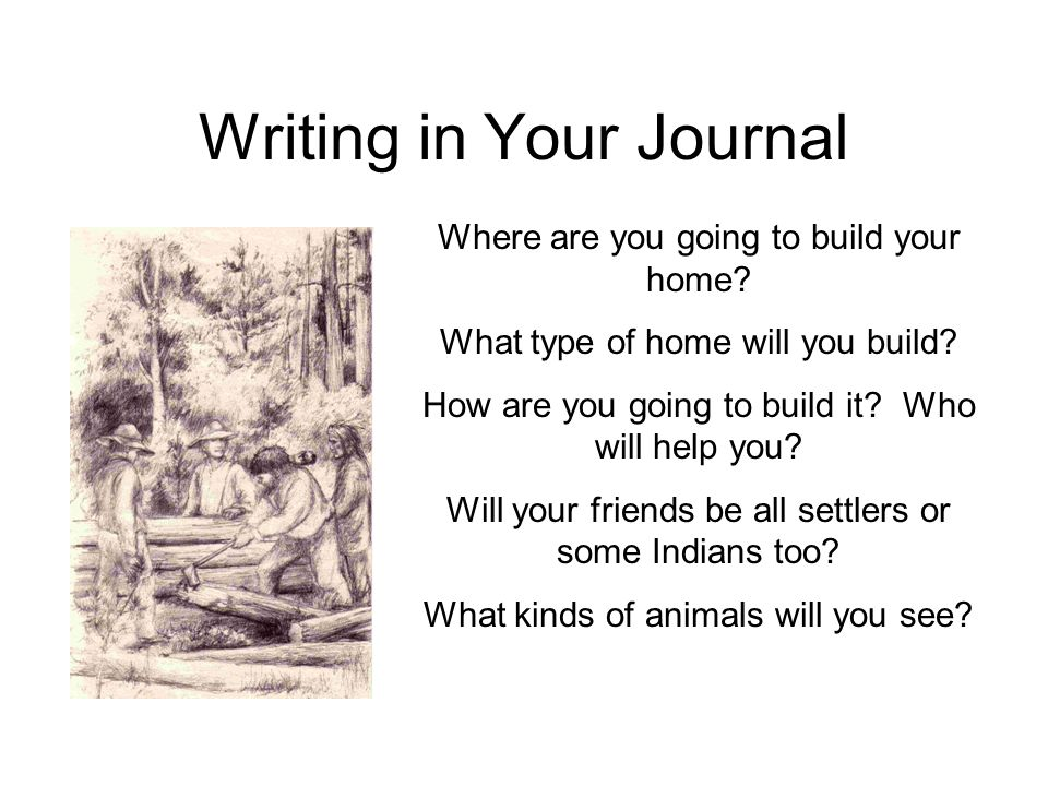 Writing in Your Journal Where are you going to build your home? What type of home will you build? How are you going to build it? Who will help you? Wi