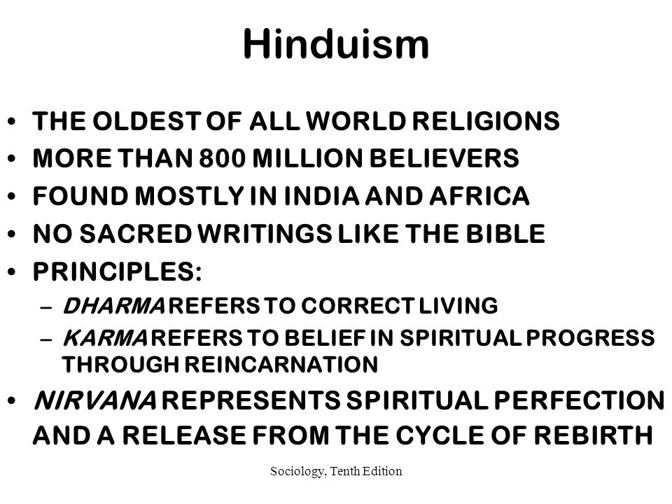 Sociology, Tenth Edition Hinduism THE OLDEST OF ALL WORLD RELIGIONS MORE THAN 800 MILLION BELIEVERS FOUND MOSTLY IN INDIA AND AFRICA NO SACRED WRITINGS LIKE THE BIBLE PRINCIPLES: –DHARMA REFERS TO CORRECT LIVING –KARMA REFERS TO BELIEF IN SPIRITUAL PROGRESS THROUGH REINCARNATION NIRVANA REPRESENTS SPIRITUAL PERFECTION AND A RELEASE FROM THE CYCLE OF REBIRTH