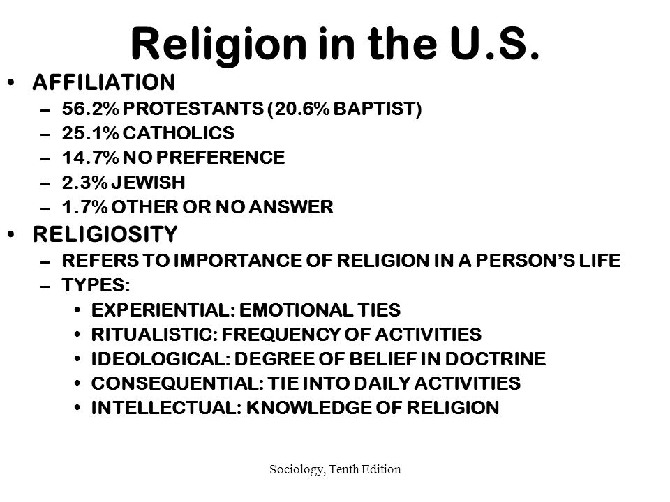 Sociology, Tenth Edition Religion in the U.S.