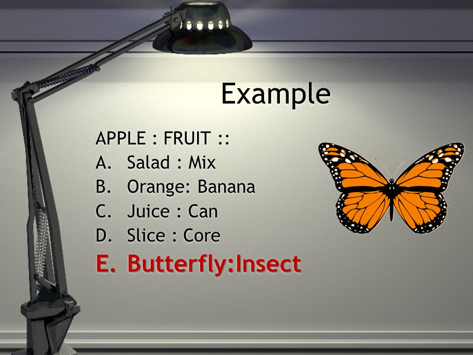 Example APPLE : FRUIT :: A.Salad : Mix B.Orange: Banana C.Juice : Can D.Slice : Core E.Butterfly:Insect APPLE : FRUIT :: A.Salad : Mix B.Orange: Banan
