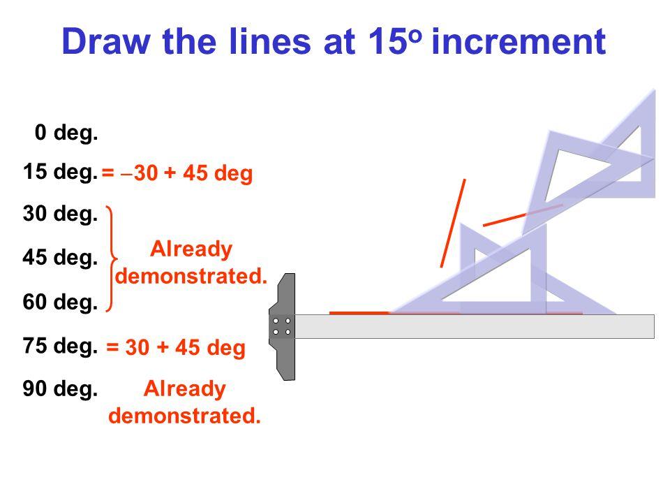 0 deg. 15 deg. 30 deg. 45 deg. 60 deg. 75 deg. 90 deg. =  30 + 45 deg Already demonstrated. = 30 + 45 deg Already demonstrated. Draw the lines at 15