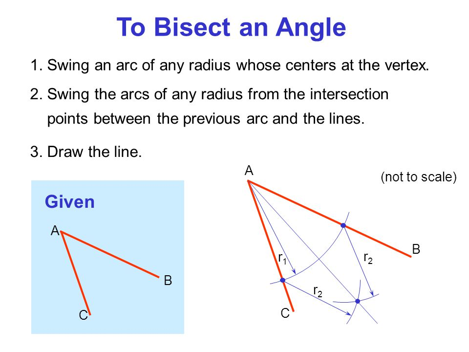 To Bisect an Angle 2. Swing the arcs of any radius from the intersection points between the previous arc and the lines. 3. Draw the line. 1. Swing an