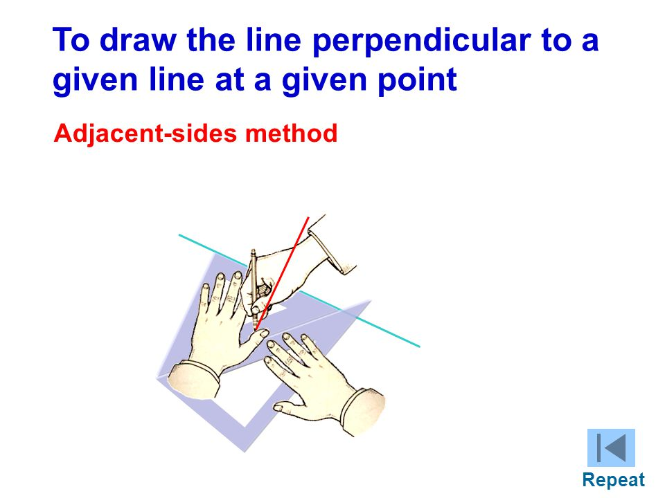 + C To draw the line perpendicular to a given line at a given point Adjacent-sides method Repeat