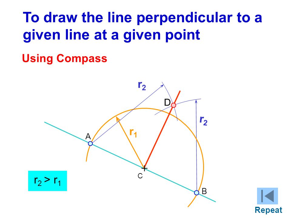 To draw the line perpendicular to a given line at a given point Using Compass r1r1 r2r2 + C r2r2 r 2 > r 1 A B D Repeat