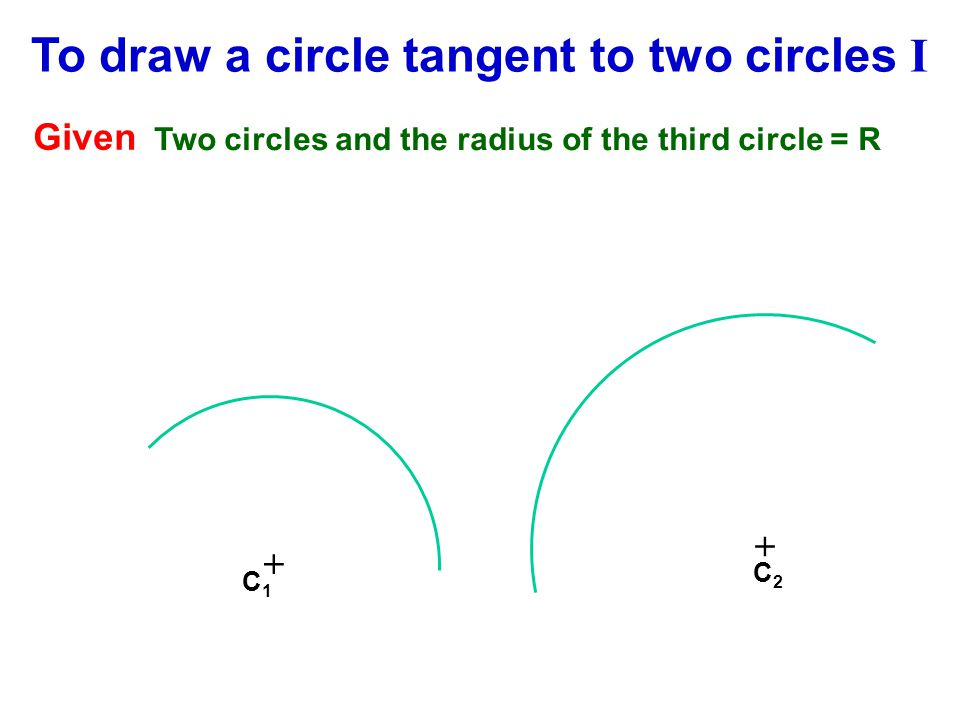 + C1C1 Given Two circles and the radius of the third circle = R To draw a circle tangent to two circles I + C2C2