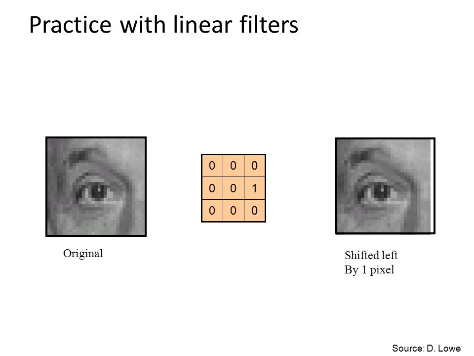 Practice with linear filters 000 100 000 Original Shifted left By 1 pixel Source: D. Lowe