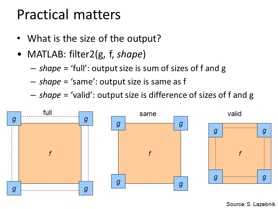 Practical matters What is the size of the output.