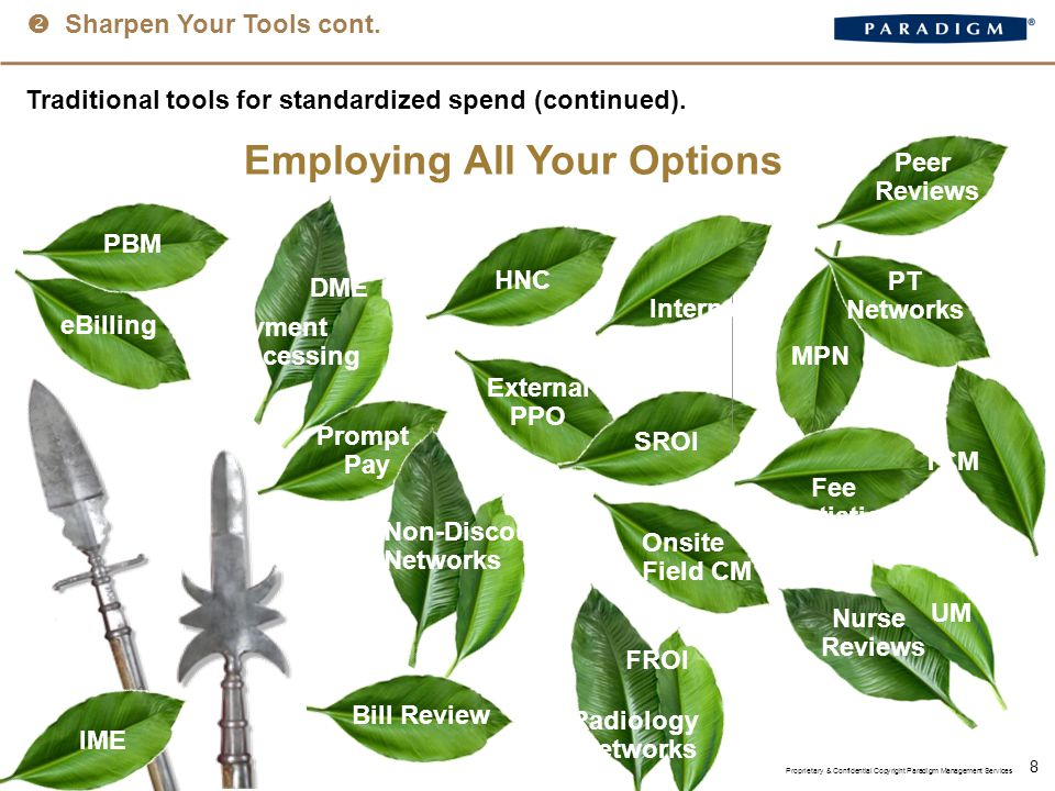  Sharpen Your Tools cont. 8 Traditional tools for standardized spend (continued).