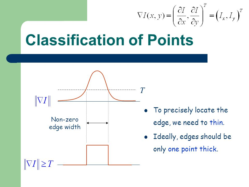 Classification of Points To precisely locate the edge, we need to thin.