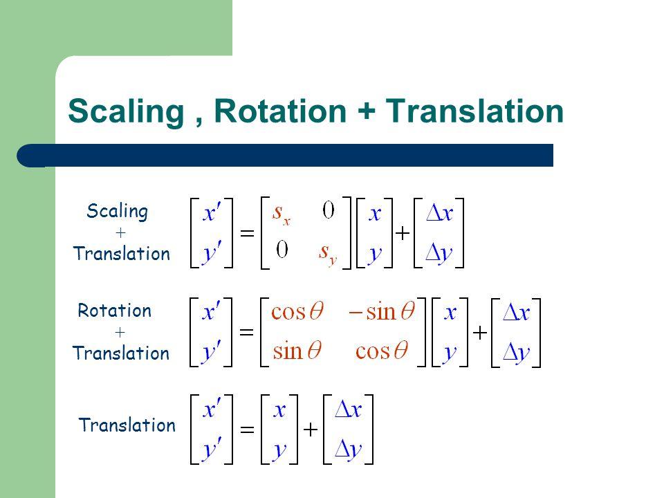 Scaling, Rotation + Translation Scaling Rotation Translation + Translation + Translation