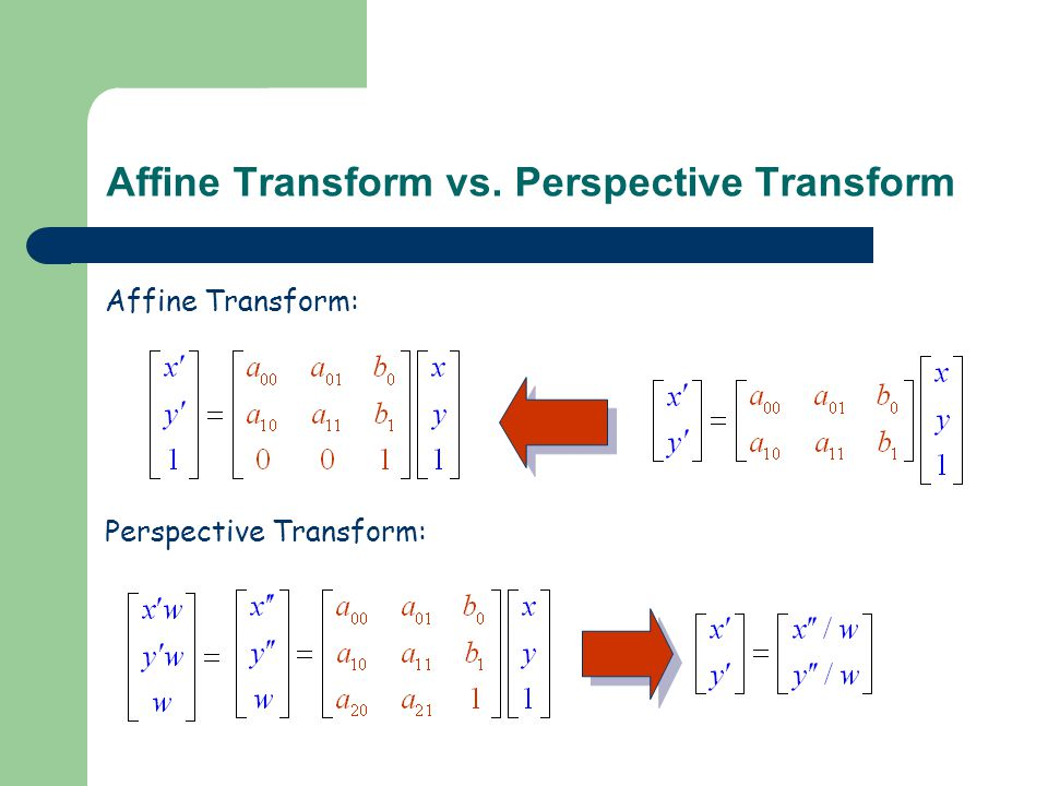 Affine Transform vs. Perspective Transform Affine Transform: Perspective Transform: