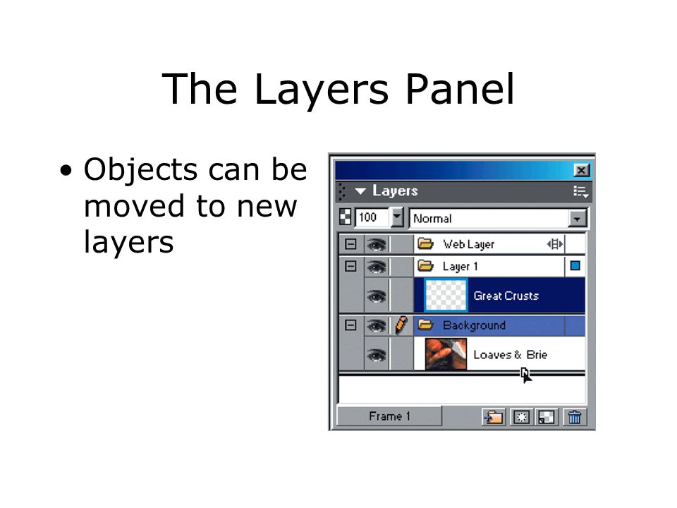Objects can be moved to new layers The Layers Panel