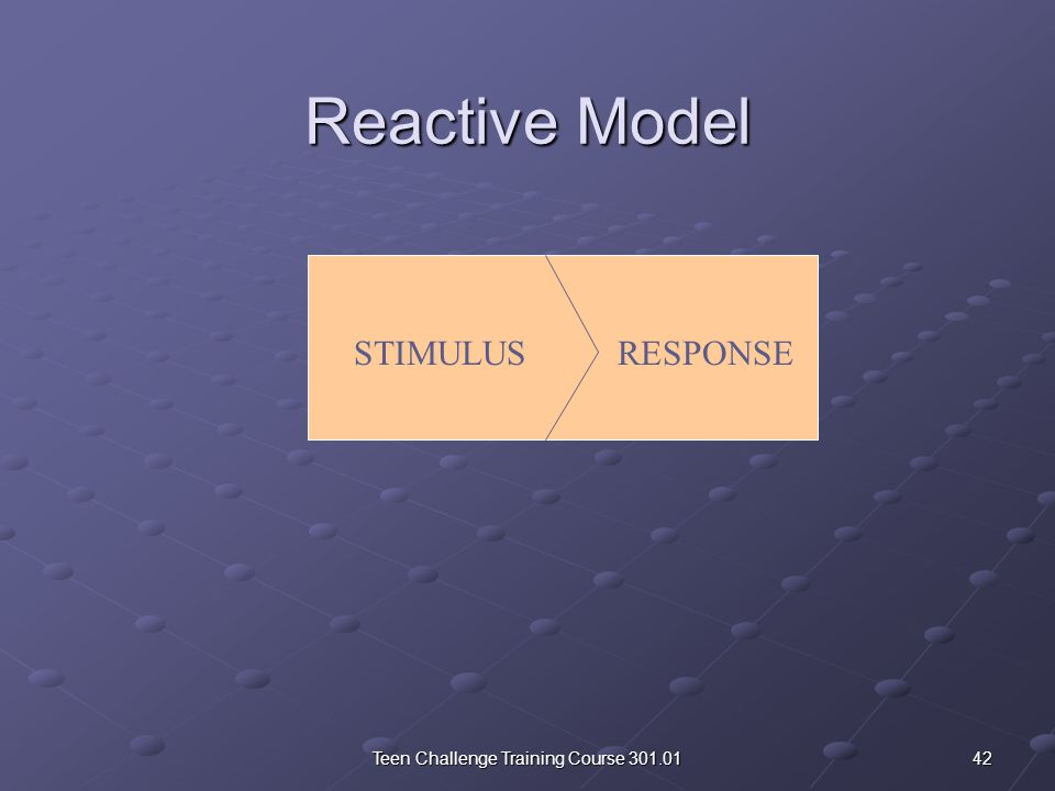 The Space Between Stimulus and Response Reactive Model vs.