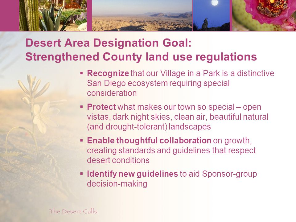 Desert Area Designation Goal: Strengthened County land use regulations  Recognize that our Village in a Park is a distinctive San Diego ecosystem requiring special consideration  Protect what makes our town so special – open vistas, dark night skies, clean air, beautiful natural (and drought-tolerant) landscapes  Enable thoughtful collaboration on growth, creating standards and guidelines that respect desert conditions  Identify new guidelines to aid Sponsor-group decision-making