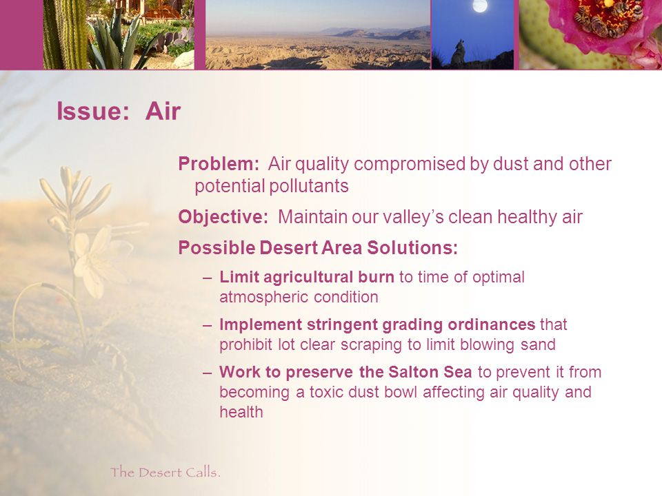 Issue: Air Problem: Air quality compromised by dust and other potential pollutants Objective: Maintain our valley's clean healthy air Possible Desert Area Solutions: –Limit agricultural burn to time of optimal atmospheric condition –Implement stringent grading ordinances that prohibit lot clear scraping to limit blowing sand –Work to preserve the Salton Sea to prevent it from becoming a toxic dust bowl affecting air quality and health