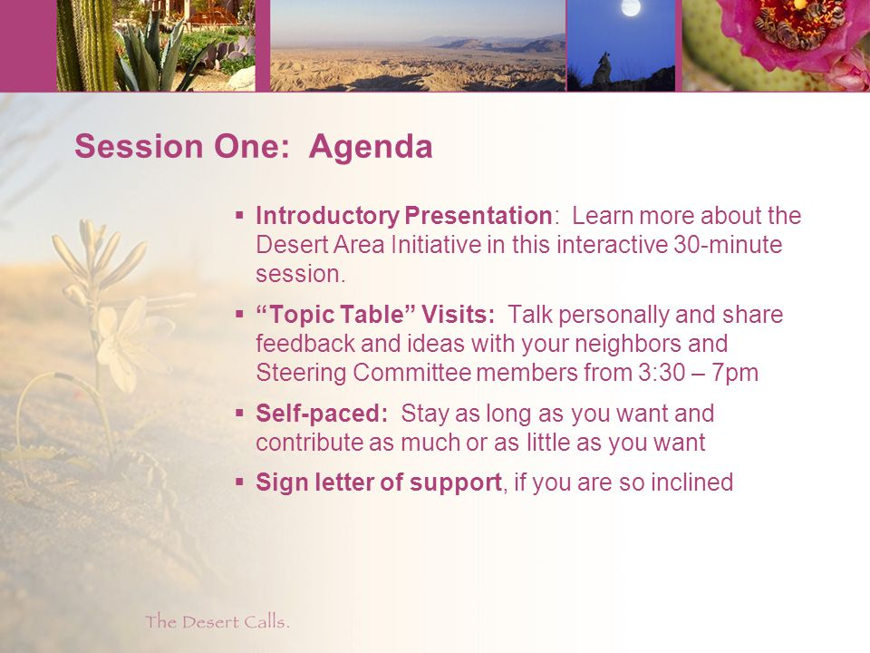 Session One: Agenda  Introductory Presentation: Learn more about the Desert Area Initiative in this interactive 30-minute session.