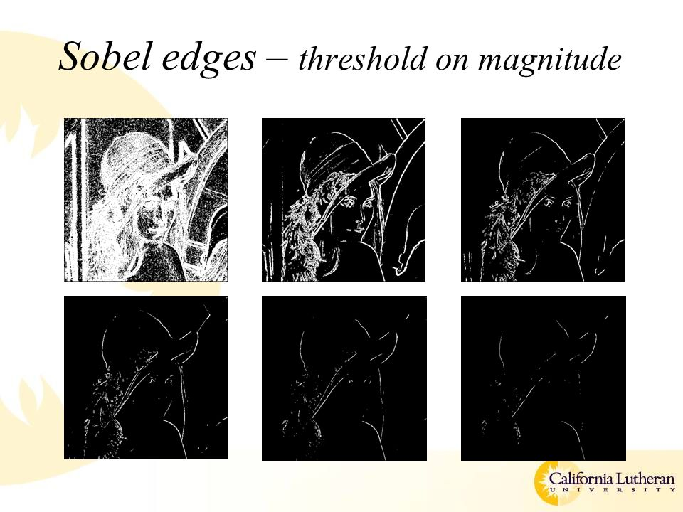 Sobel edges – threshold on magnitude