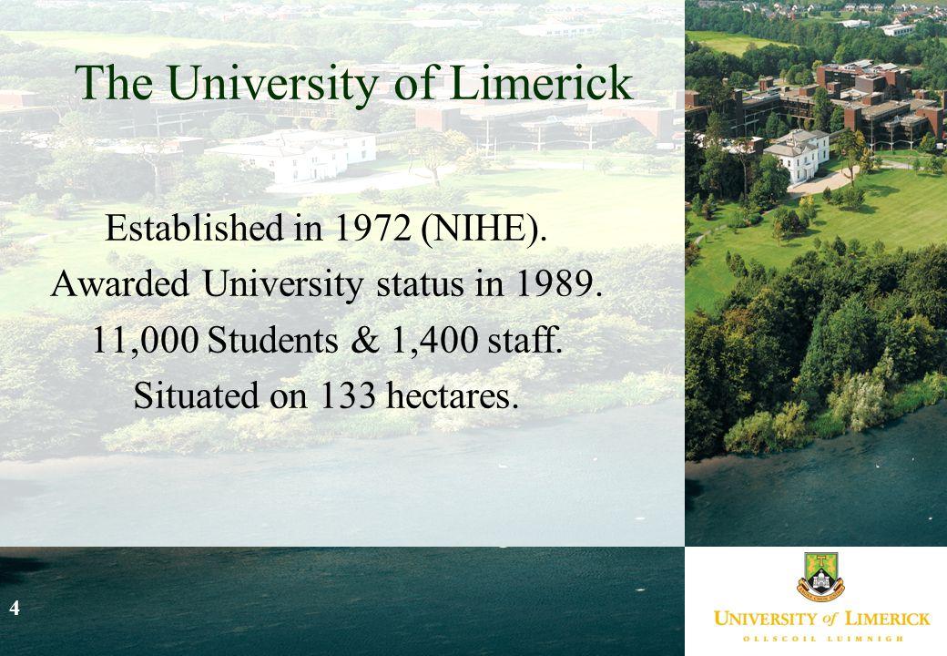 4 The University of Limerick Established in 1972 (NIHE).