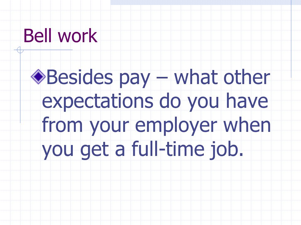 Bell work Besides pay – what other expectations do you have from your employer when you get a full-time job.