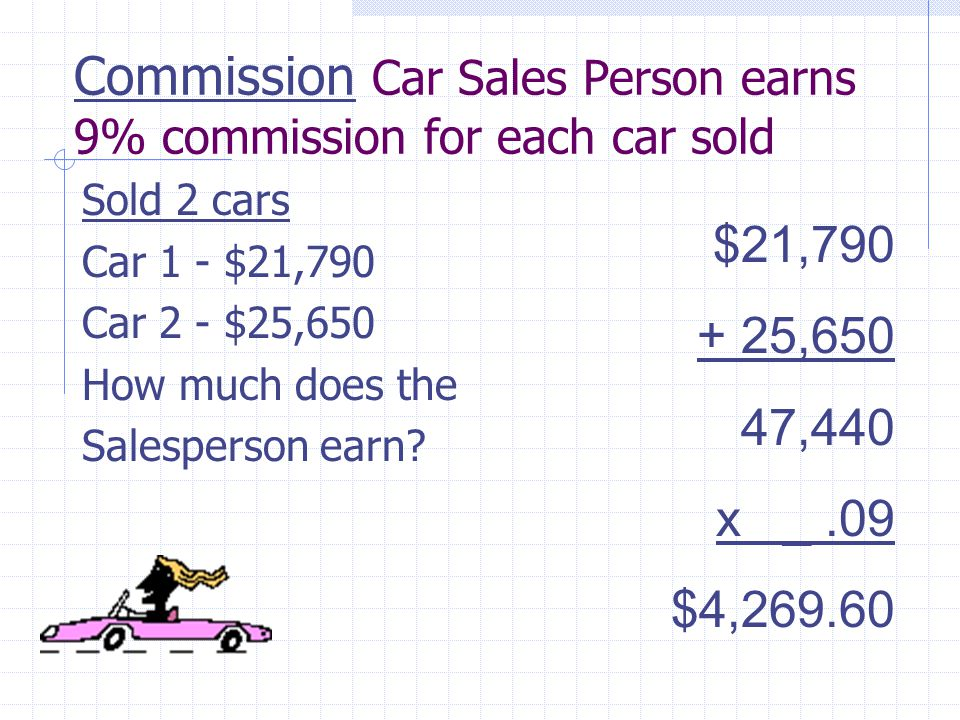 Commission Car Sales Person earns 9% commission for each car sold Sold 2 cars Car 1 - $21,790 Car 2 - $25,650 How much does the Salesperson earn.