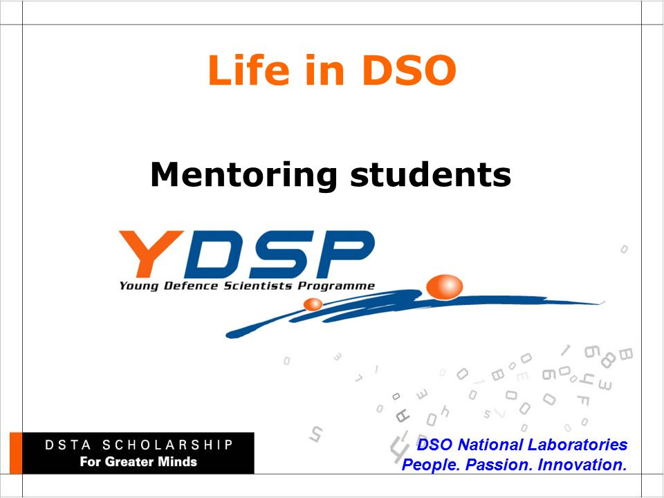 DSO National Laboratories People. Passion. Innovation. Mentoring students Life in DSO