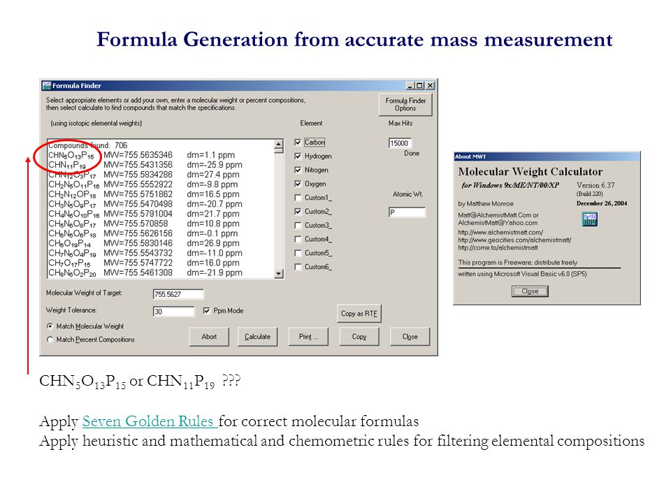 Formula Generation from accurate mass measurement CHN 5 O 13 P 15 or CHN 11 P 19 .