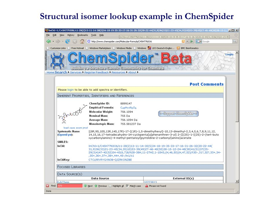 Structural isomer lookup example in ChemSpider