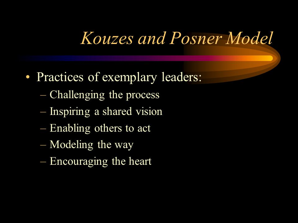 Kouzes and Posner Model Practices of exemplary leaders: –Challenging the process –Inspiring a shared vision –Enabling others to act –Modeling the way –Encouraging the heart