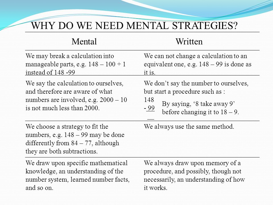 WHY DO WE NEED MENTAL STRATEGIES.