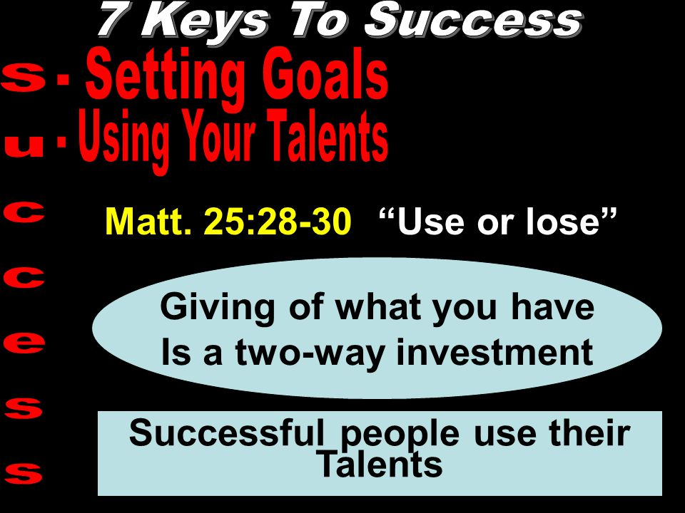 """Matt. 25:28-30 """"Use or lose"""" Giving of what you have Is a two-way investment Successful people use their Talents"""