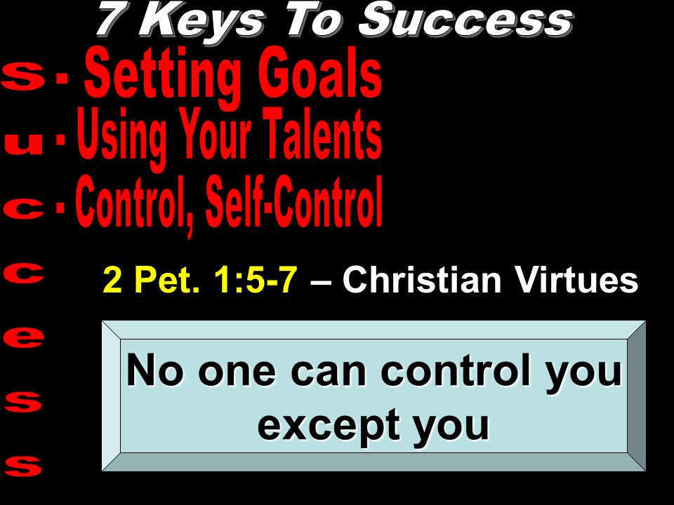 2 Pet. 1:5-7 – Christian Virtues No one can control you except you