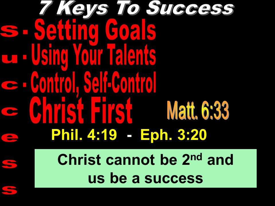 Phil. 4:19 - Eph. 3:20 Christ cannot be 2 nd and us be a success