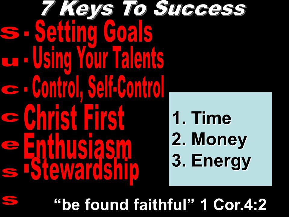 """""""be found faithful"""" 1 Cor.4:2 1. Time 2. Money 3. Energy"""