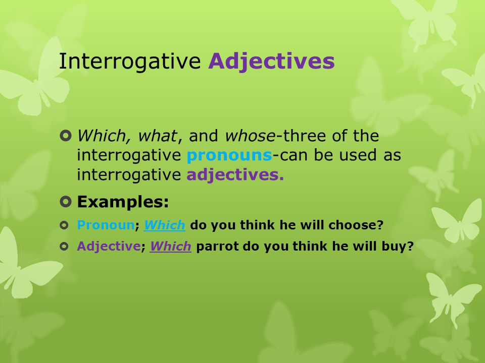 Interrogative Adjectives  Which, what, and whose-three of the interrogative pronouns-can be used as interrogative adjectives.