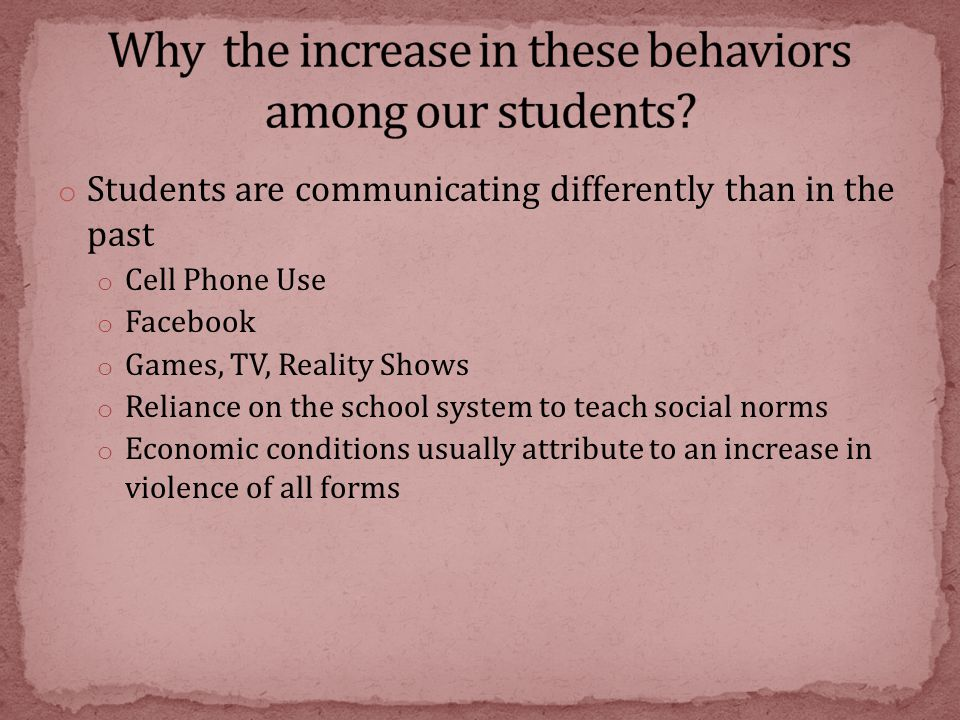 o Students are communicating differently than in the past o Cell Phone Use o Facebook o Games, TV, Reality Shows o Reliance on the school system to te