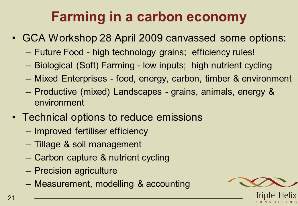 21 Farming in a carbon economy GCA Workshop 28 April 2009 canvassed some options: –Future Food - high technology grains; efficiency rules.