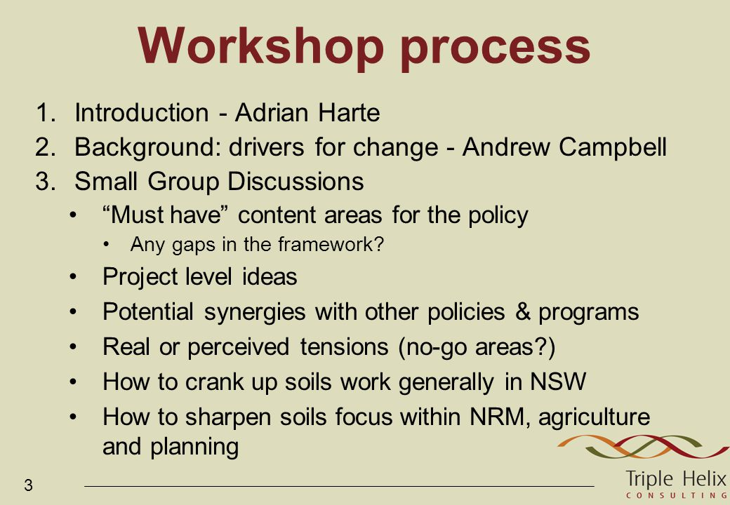 4 Key Questions 1.What are some must have content elements for the State Soils Policy.