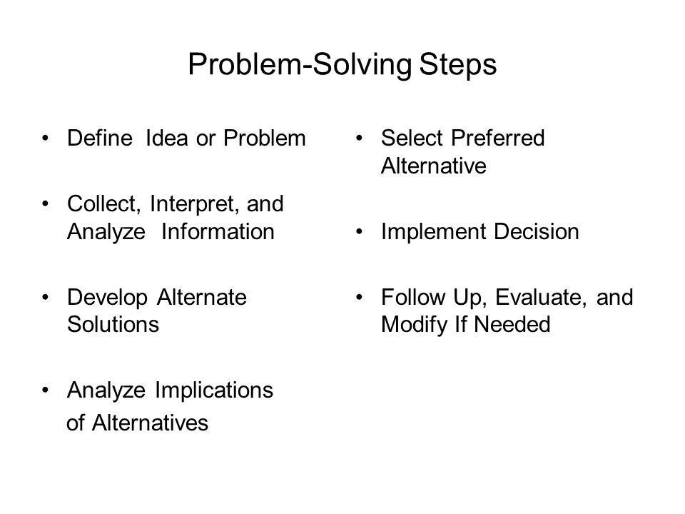 Problem-Solving Steps Define Idea or Problem Collect, Interpret, and Analyze Information Develop Alternate Solutions Analyze Implications of Alternati