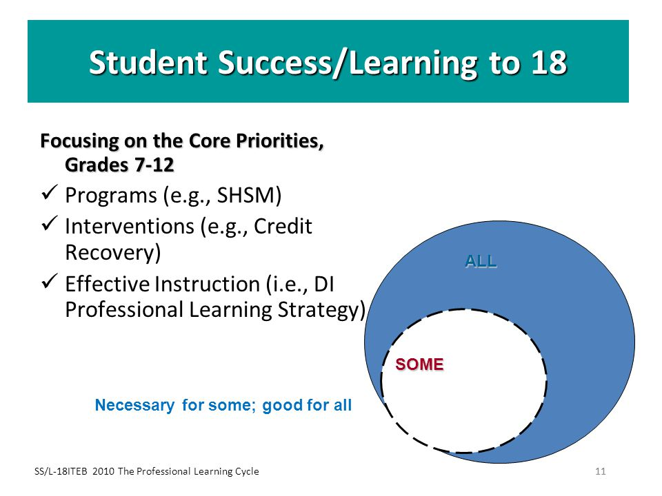 SS/L-18ITEB 2010 The Professional Learning Cycle11 Student Success/Learning to 18 Focusing on theCore Priorities, Grades 7-12 Focusing on the Core Pri