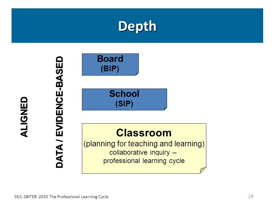 SS/L-18ITEB 2010 The Professional Learning Cycle 28 Depth School (SIP) Classroom (planning for teaching and learning) collaborative inquiry – professi